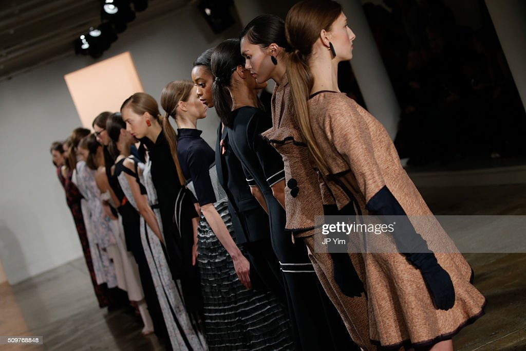 Models pose on the runway at the CG runway show during Fall 2016 MADE Fashion Week at Milk Studios on February 12, 2016 in New York City.