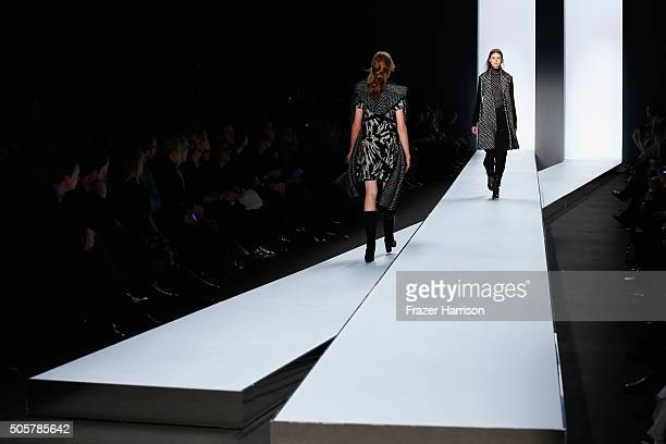 Models pose on the runway at the Dorothee Schumacher in cooperation with Mastercard show during the MercedesBenz Fashion Week Berlin Autumn/Winter...
