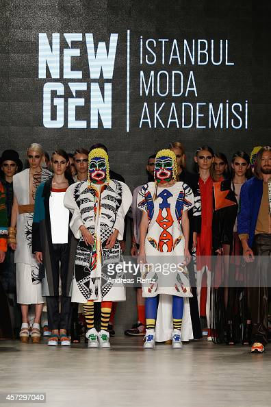 Models pose on the runway at the New Gen II show during Mercedes Benz Fashion Week Istanbul SS15 at Antrepo 3 on October 16 2014 in Istanbul Turkey