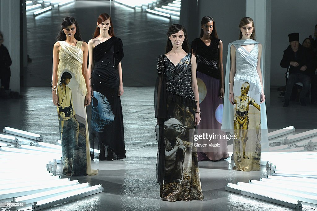 Models pose on the runway at the Rodarte fashion show during Mercedes-Benz Fashion Week Fall 2014 at Center 548 on February 11, 2014 in New York City.