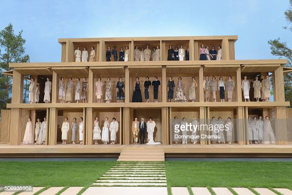 Models pose on the runway during the Chanel Haute Couture Spring Summer 2016 show as part of Paris Fashion Week on January 26 2016 in Paris France