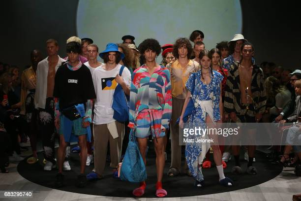 Models pose on the runway during the Double Rainbouu show at MercedesBenz Fashion Week Resort 18 Collections at Carriageworks on May 15 2017 in...