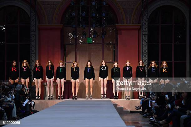 Models pose on the runway during the Sonia Rykiel show as part of the Paris Fashion Week Womenswear Spring/Summer 2017 on October 3 2016 in Paris...