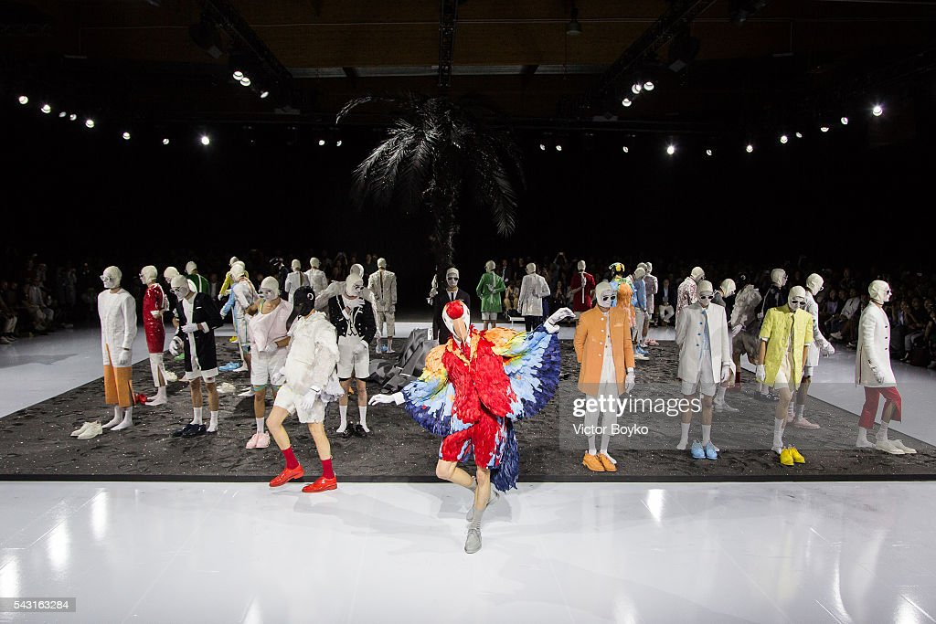 Models pose on the runway during the Thom Browne Menswear Spring/Summer 2017 show as part of Paris Fashion Week on June 26, 2016 in Paris, France.