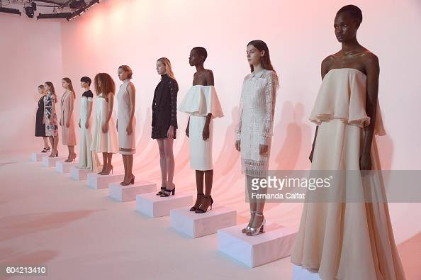 Models pose on the runway for the Julianna Bass presentation during New York Fashion Week September 2016 at Spring Studios on September 13 2016 in...