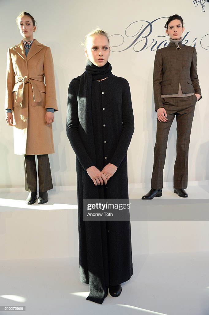 Models pose onstage at Brooks Brothers F/W 2016 Presentation With Zac Posen on February 14, 2016 in New York City.