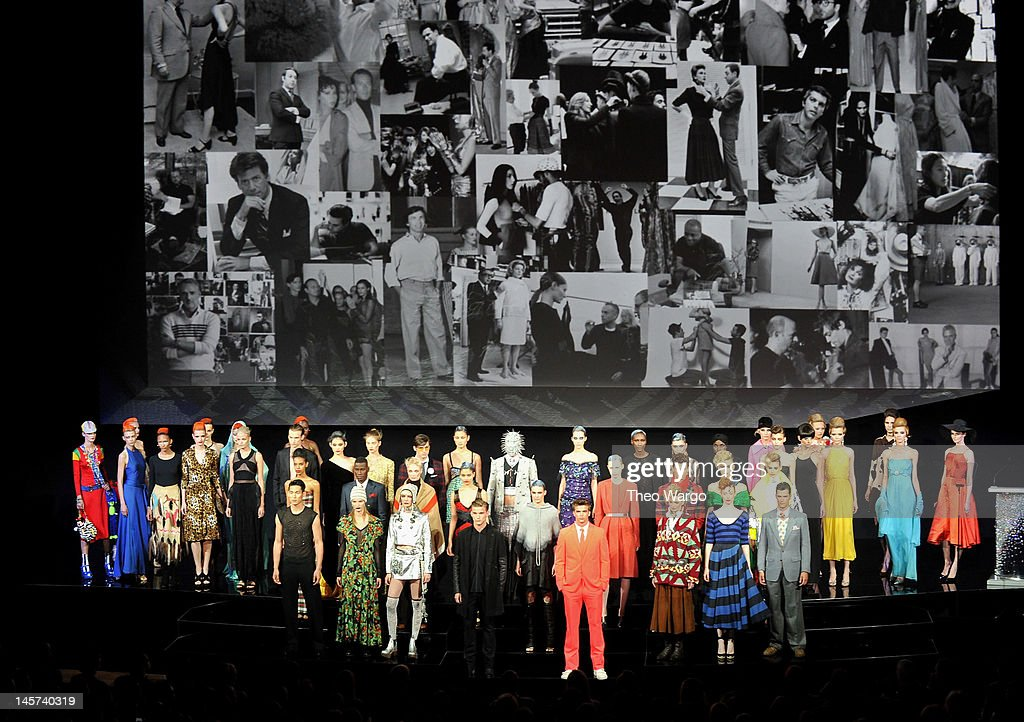 Models pose onstage at the 2012 CFDA Fashion Awards at Alice Tully Hall on June 4, 2012 in New York City.