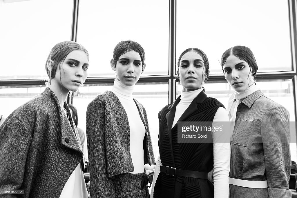 Models pose prior the Christine Phung show as part of the Paris Fashion Week Womenswear Fall/Winter 2015/2016 at Institut du Monde Arabe on March 3...