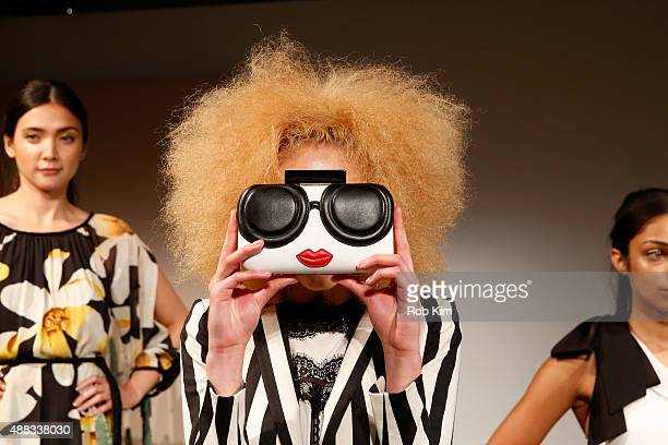 Models pose wearing Alice Olivia By Stacey Bendet Spring 2016 during New York Fashion Week The Shows at The Gallery Skylight at Clarkson Sq on...
