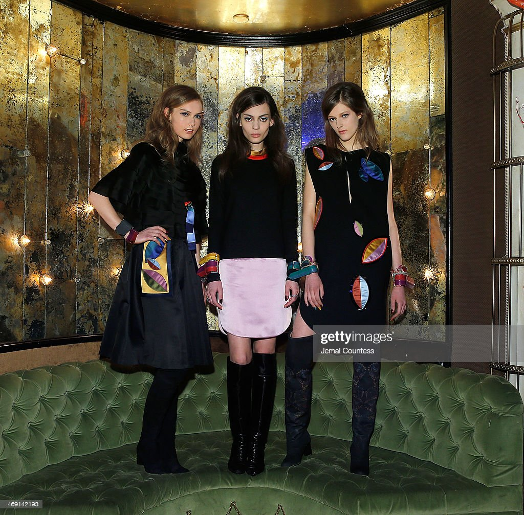 Models pose wearing Cynthia Rowley Fall 2014 at the Cynthia Rowley Fall 2014 Presentation during Mercedes-Benz Fashion Week Fall 2014 at The Diamond Horseshoe on February 12, 2014 in New York City.