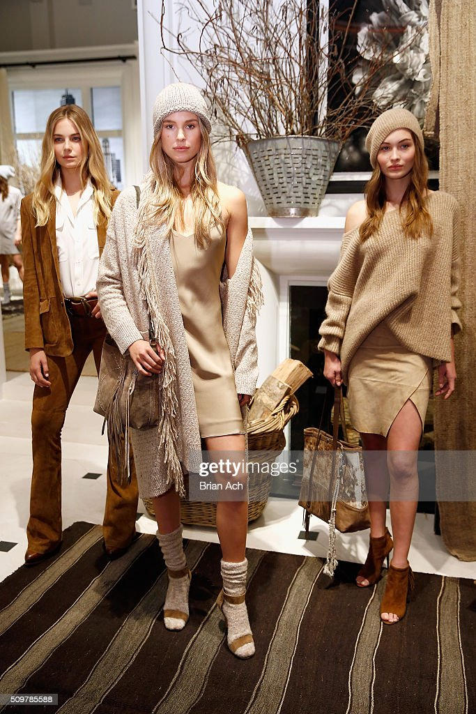 Models pose wearing Polo Ralph Lauren Fall 2016 during New York Fashion Week on February 12, 2016 in New York City.