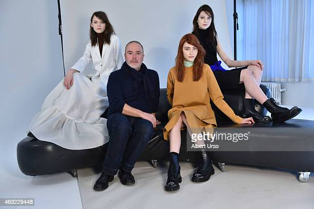 Models pose with designer John Patrick at Organic by John Patrick presentation at the Refinery Hotel during New York Fashion week on February 11 2015...
