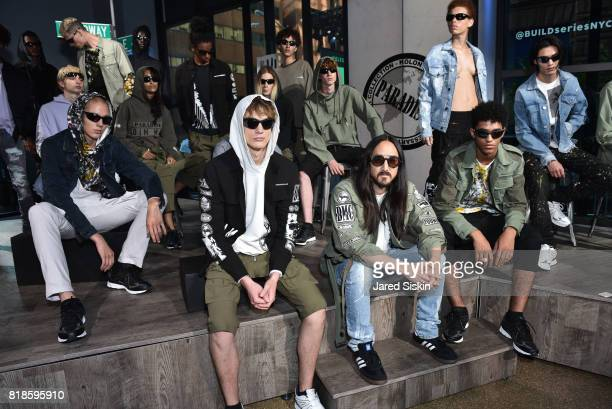 Models pose with DJ Steve Aoki at the Kolony Album Release Event Dim Mak SS18 Collection VIP Reception at Build Studio on July 18 2017 in New York...