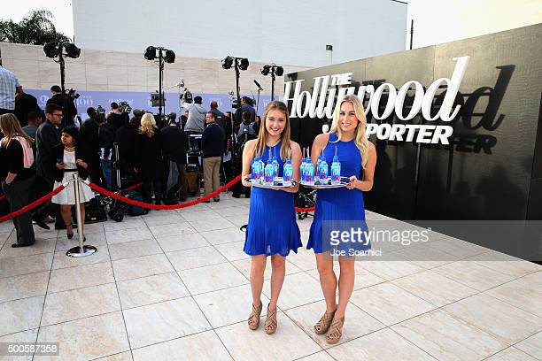 Models pose with Fiji water at the 24th annual Women in Entertainment Breakfast hosted by The Hollywood Reporter at Milk Studios on December 9 2015...