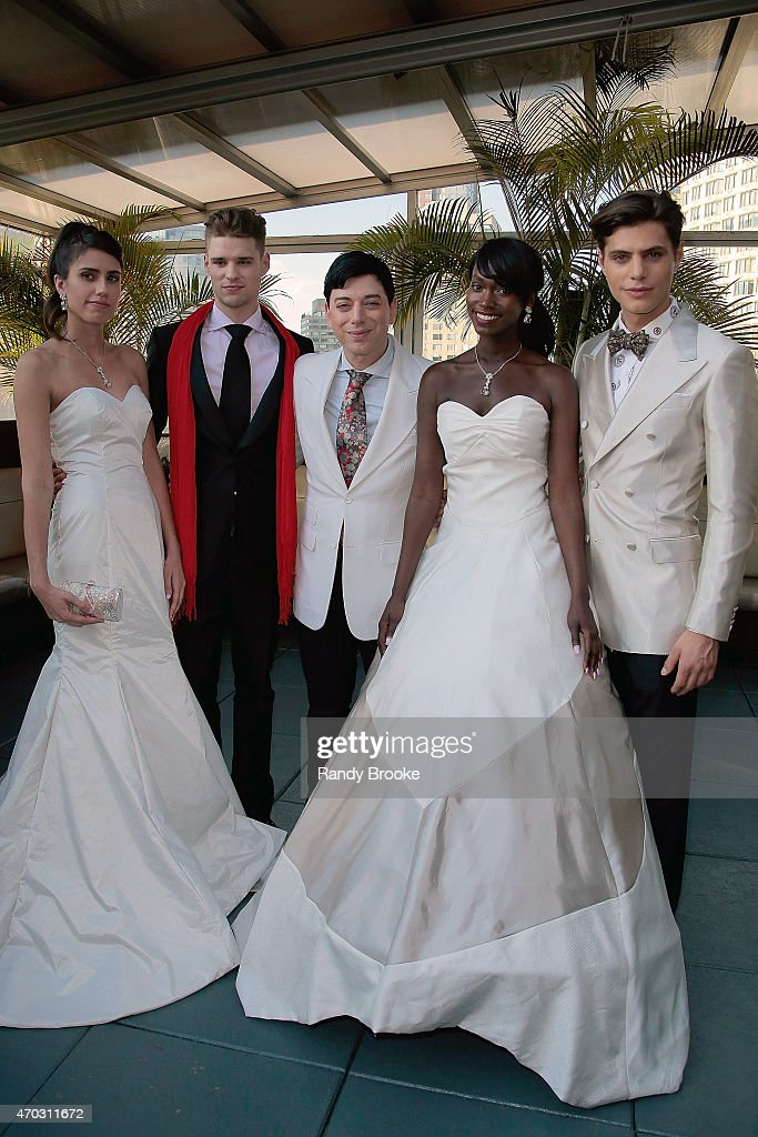 Models pose with Malan Breton during the Malan Breton Bridal Spring/Summer 2016 Presentation at The Empire Hotel Rooftop on April 18 2015 in New York...