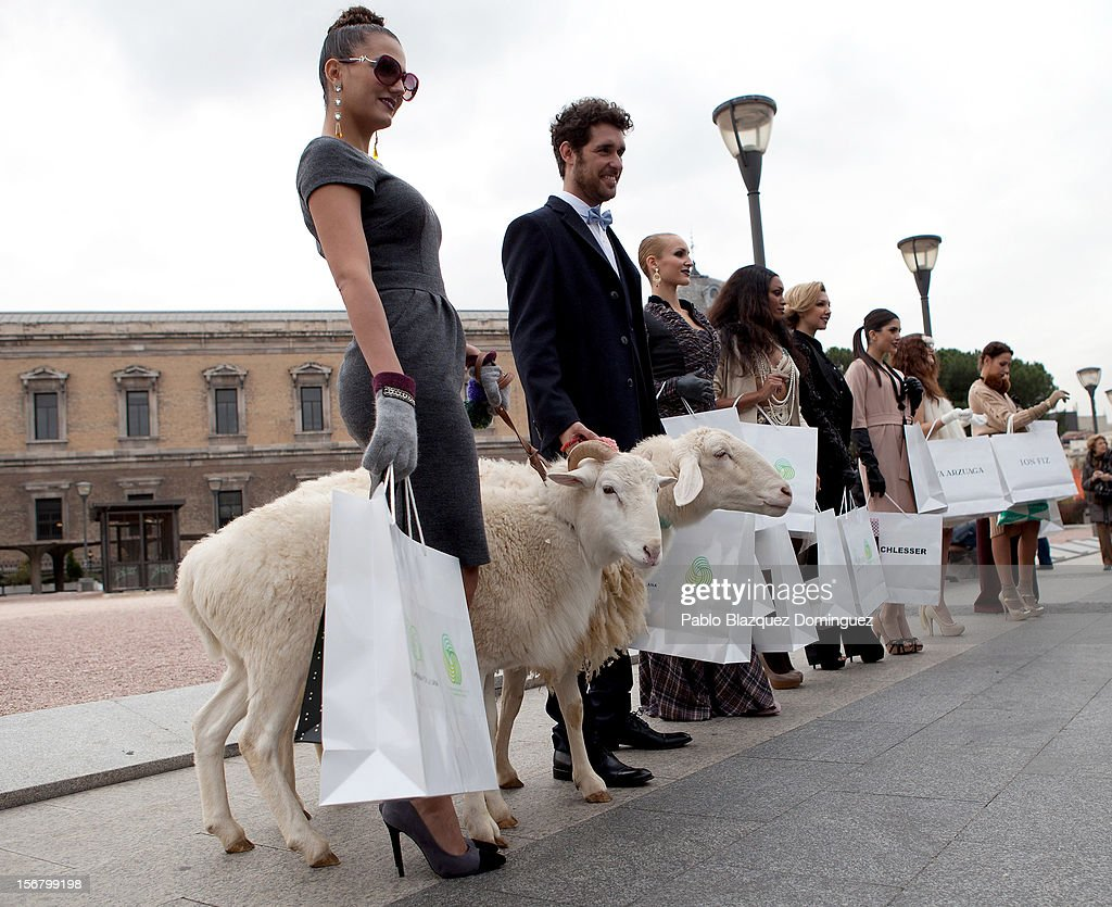 Models pose with two sheep during the Wool Week 2012 inaguration at Colon Square on November 21, 2012 in Madrid, Spain.