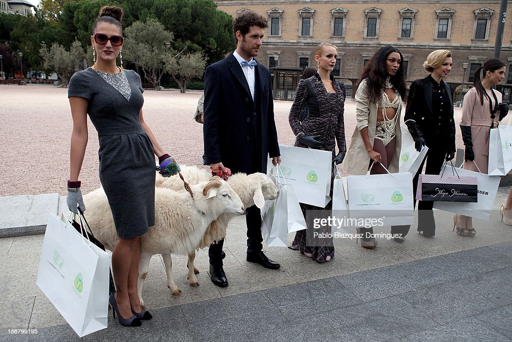 Models pose with two sheep during Wool Week 2012 inaguration at Colon Square on November 21, 2012 in Madrid, Spain.