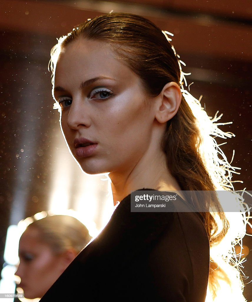 A models poses backstage at the Katie Gallagher Presentation during Fall 2013 Mercedes-Benz Fashion Week at The Standard Hotel on February 8, 2013 in New York City.