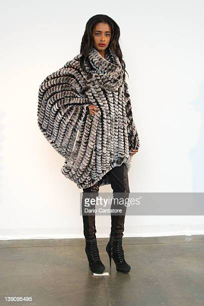 A models poses during the Adrienne Landau fall 2012 presentation during MercedesBenz Fashion Week on February 16 2012 in New York City