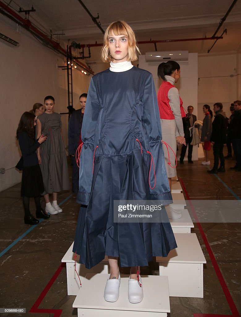 A models poses during the Presentation - Fall 2016 New York Fashion Week at Openhouse Gallery on February 12, 2016 in New York City.