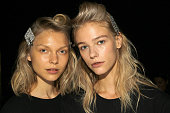 Models poses for a picture backstage for the Opening Ceremony fashion show during Spring 2016 New York Fashion Week on September 13 2015 in New York...