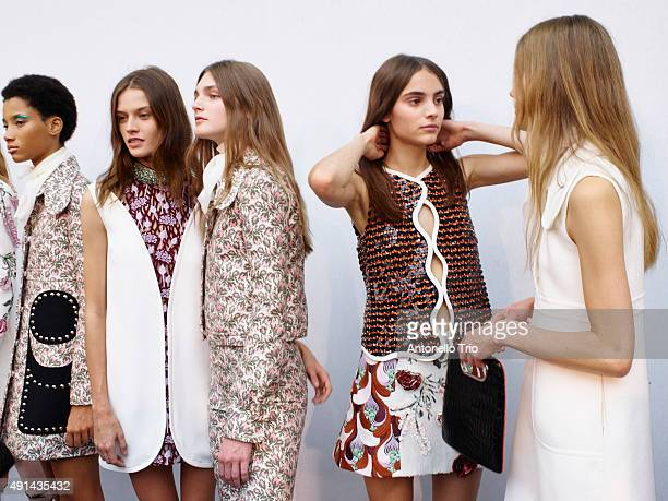 Models poses prior the Giambattista Valli show as part of the Paris Fashion Week Womenswear Spring/Summer2016 >> on October 5 2015 in Paris France