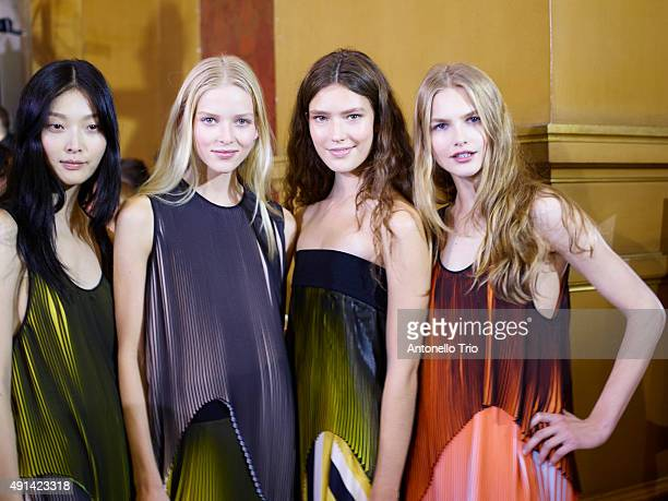 Models poses prior the Stella McCartney show as part of the Paris Fashion Week Womenswear Spring/Summer2016 on October 5 2015 in Paris France