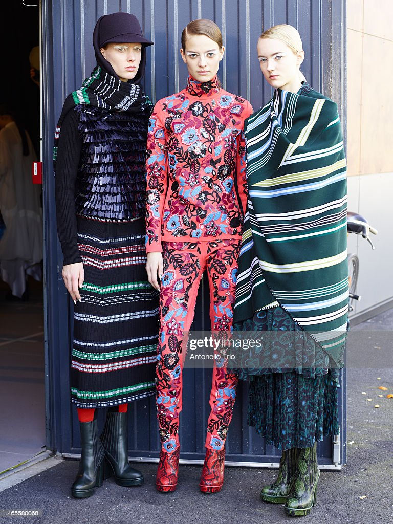 Models poses prior to the Kenzo show as part of the Paris Fashion Week Womenswear Fall/Winter 2015/2016 on March 8 2015 in Paris France