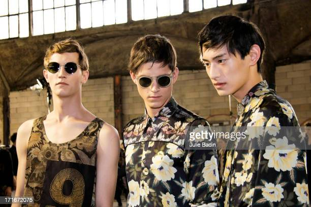 Models posing backstage before the Dries Van Noten Menswear Spring/Summer 2014 Show As Part Of The Paris Fashion Week on June 27 2013 in Paris France