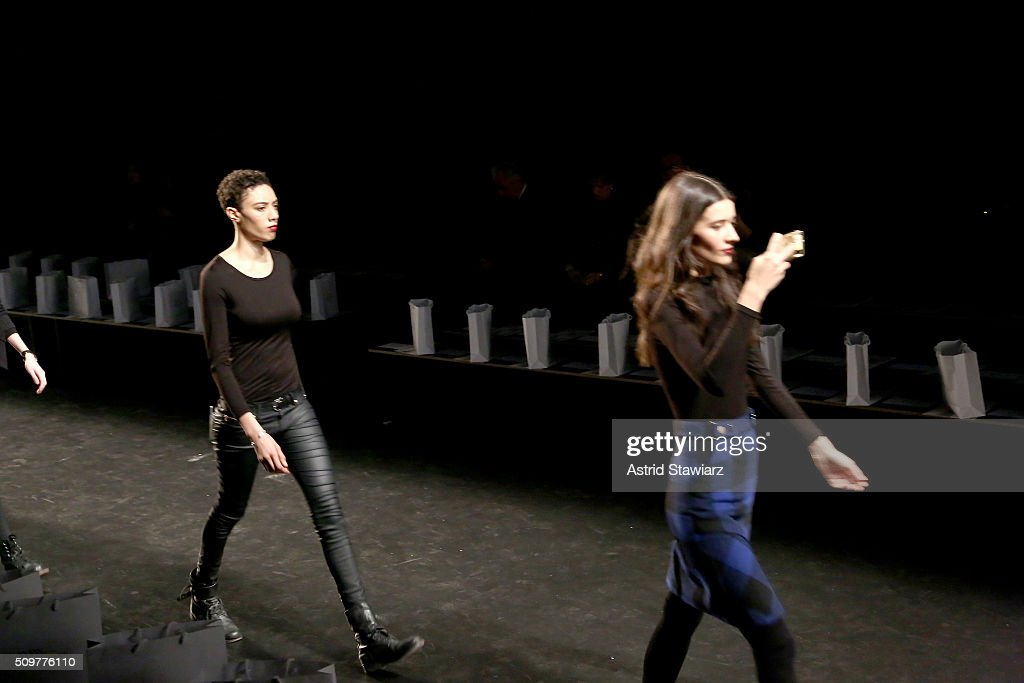 Models practice walking the runway at the Concept Korea Fall 2016 fashion show during New York Fashion Week: The Shows at The Dock, Skylight at Moynihan Station on February 12, 2016 in New York City.