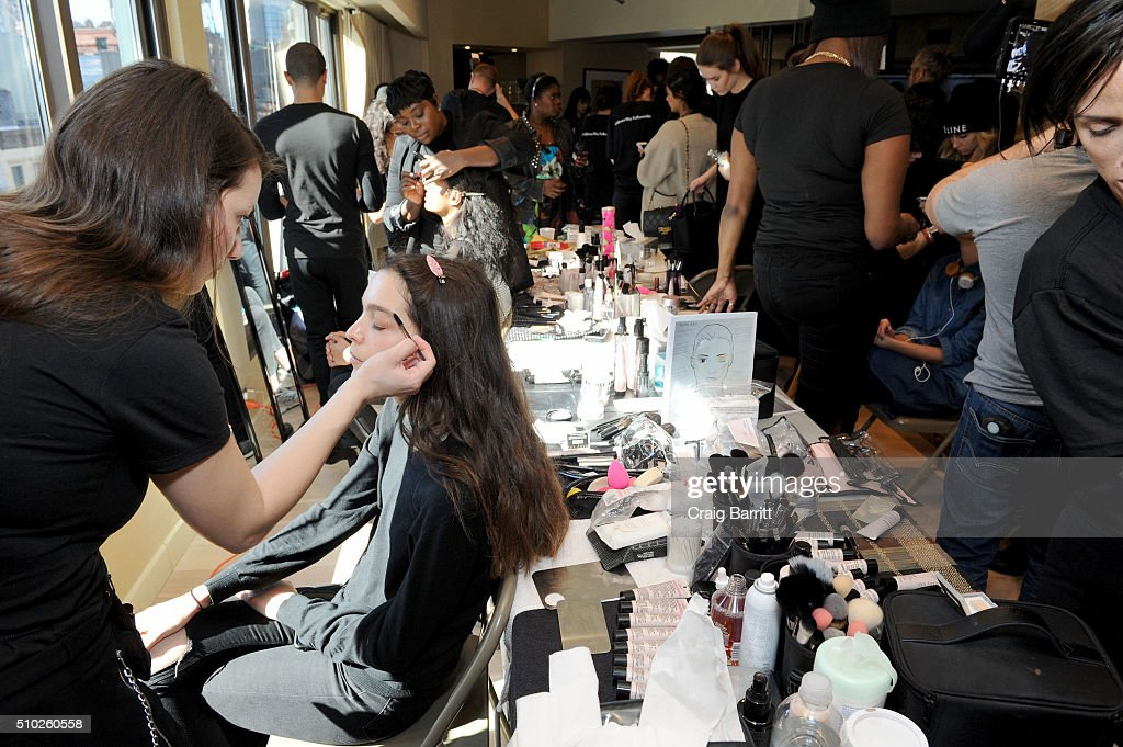 Models prepare at Mary Kay at Tracy Reese F/W '16- Presentation during New York Fashion Week at Roxy Hotel on February 14, 2016 in New York City.