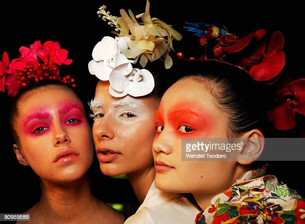 Models prepare backstage ahead of the Akira show on the fifth day of Rosemount Australian Fashion Week Spring/Summer 2008/09 Collections at the...