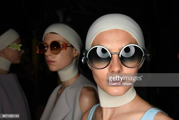 Models prepare backstage ahead of the Anya Hindmarch show during London Fashion Week Spring/Summer collections 2017 on September 18 2016 in London...