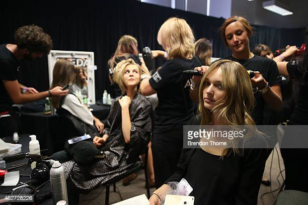 Models prepare backstage ahead of the David Jones Autumn/Winter 2015 Collection Launch at David Jones Elizabeth Street Store on February 4 2015 in...