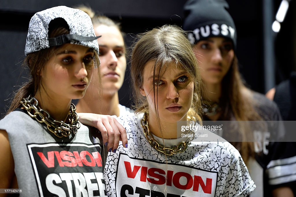 Models prepare backstage ahead of the General Pants show during Mercedes-Benz Fashion Festival Sydney 2013 at Sydney Town Hall on August 21, 2013 in Sydney, Australia.