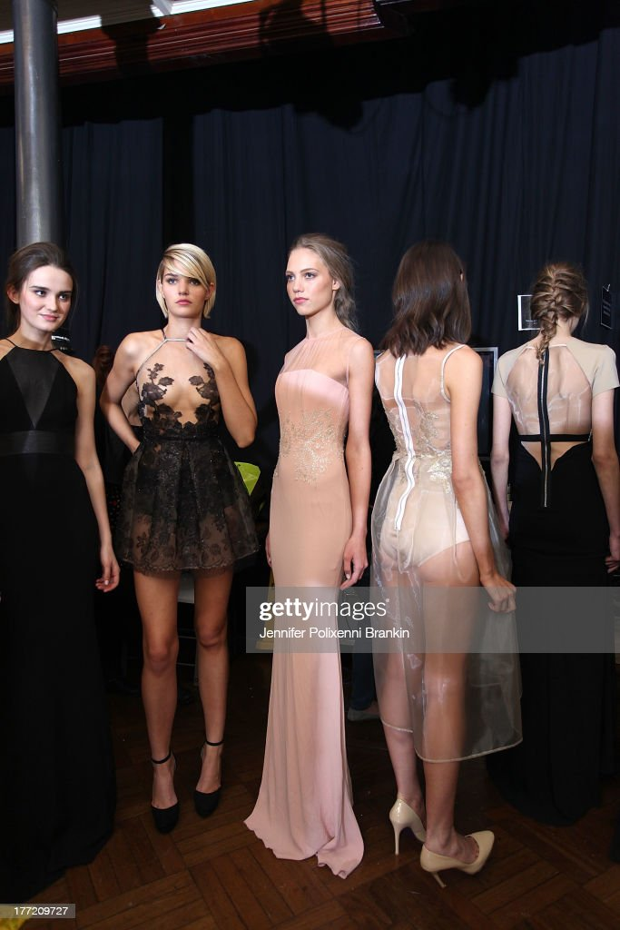 Models prepare backstage ahead of the InStyle Red Carpet Runway show during Mercedes-Benz Fashion Festival Sydney 2013 at Sydney Town Hall on August 22, 2013 in Sydney, Australia.