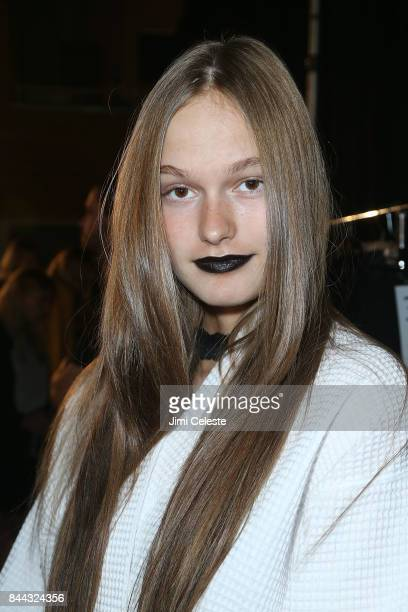 Models prepare backstage at Linder show during New York Fashion Week on September 8 2017 in New York City