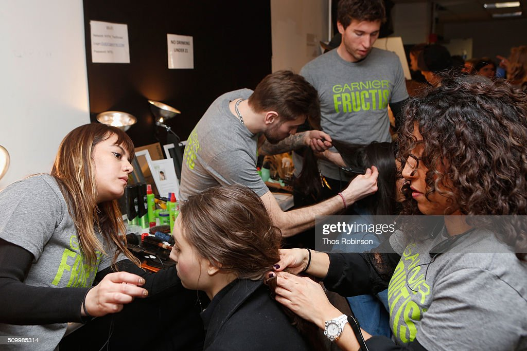 Models prepare backstage at Rebecca Minkoff Fall 2016 sponsored by Garnier Hair at the #SEEBUYWEAR Runway Show at The Gallery, Skylight at Clarkson Sq on February 13, 2016 in New York City.