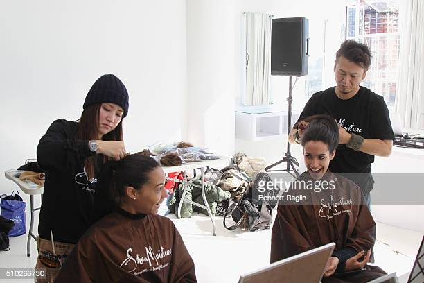 Models prepare backstage at SheaMoisture at Laquan Smith F/W 2016 NYFW at Jack Studios on February 14 2016 in New York City