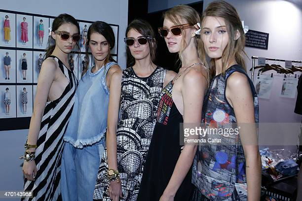 Models prepare backstage at the 2nd Floor show at SPFW Summer 2016 at Parque Candido Portinari on April 17 2015 in Sao Paulo Brazil
