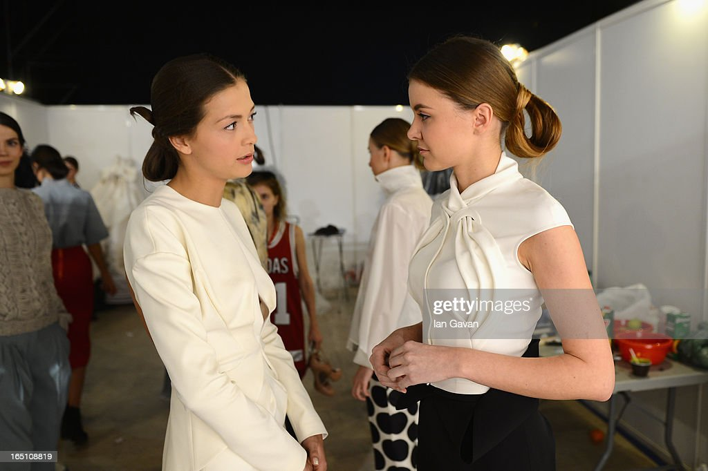 Models prepare backstage at the Enteley show during Mercedes-Benz Fashion Week Russia Fall/Winter 2013/2014 at Manege on March 30, 2013 in Moscow, Russia.