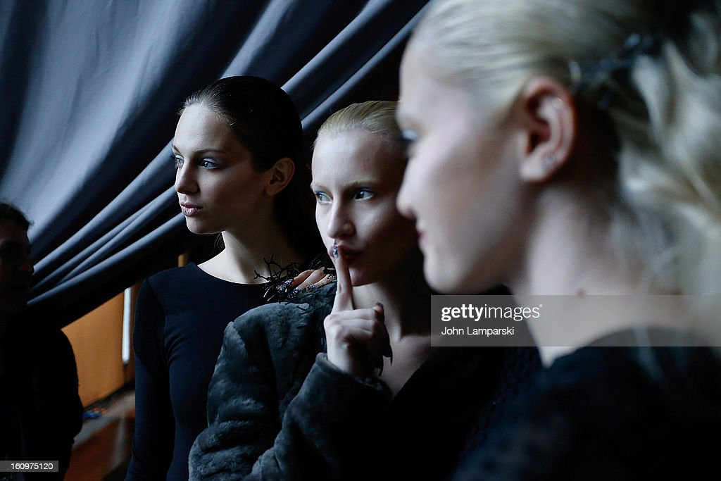 Models prepare backstage at the Katie Gallagher Presentation during Fall 2013 Mercedes-Benz Fashion Week at The Standard Hotel on February 8, 2013 in New York City.