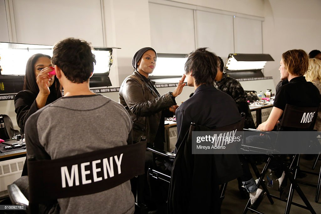 Models prepare backstage at the Pyer Moss Fall 2016 fashion show during MADE Fashion Week at Milk Studios on February 13, 2016 in New York City.