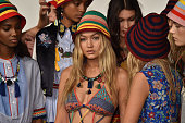 Models prepare backstage at Tommy Hilfiger Women's Spring 2016 during New York Fashion Week The Shows at Pier 36 on September 14 2015 in New York City