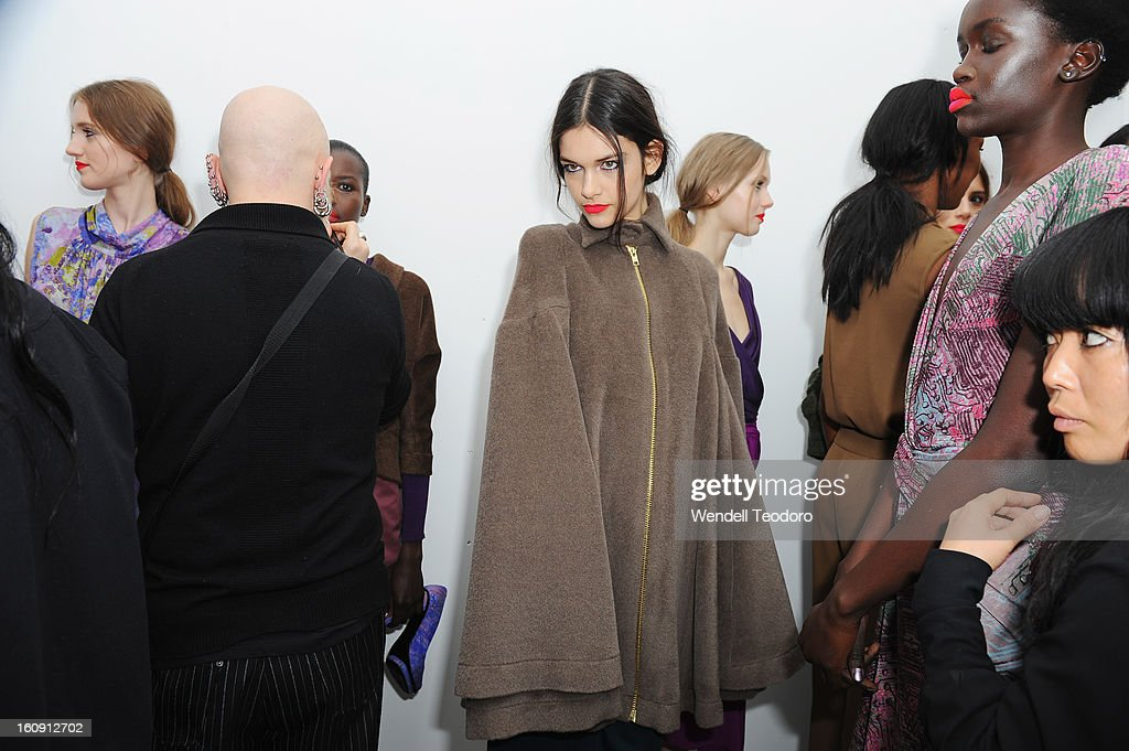 Models prepare backstage before the Costello Tagliapietra show during Fall 2013 MADE Fashion Week at Milk Studios on February 7, 2013 in New York City.