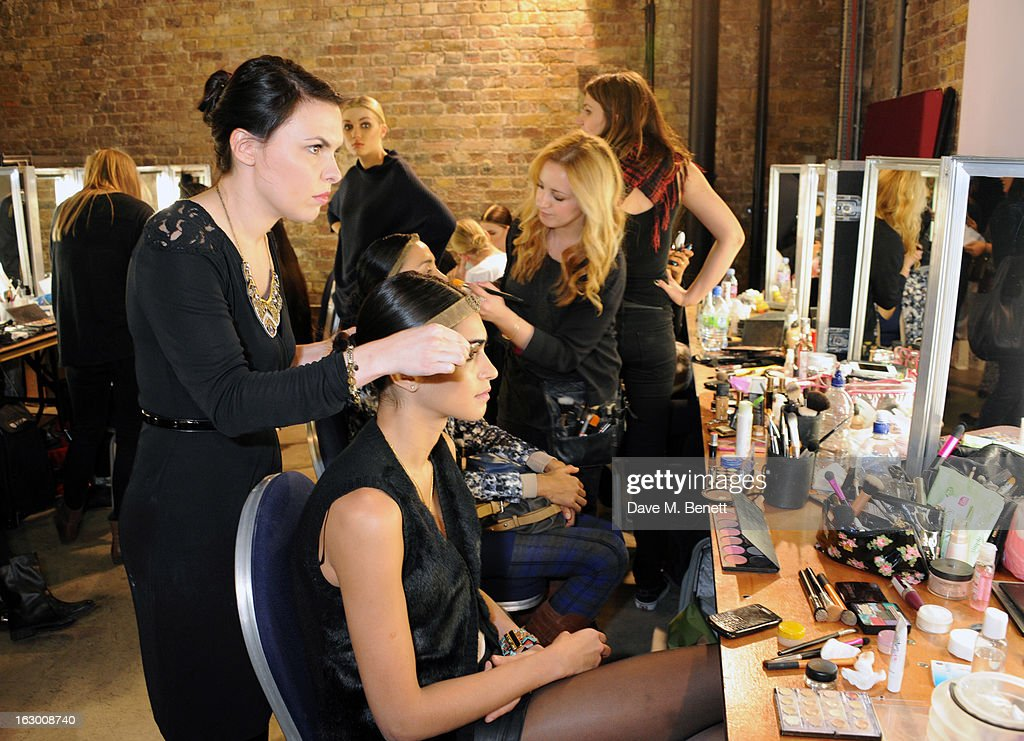 Models prepare backstage during a Fashion Gala fundraiser hosted by the Akshaya Patra Foundation for underpriveleged children in India, at Vinopolis, on March 2, 2013 in London, England.