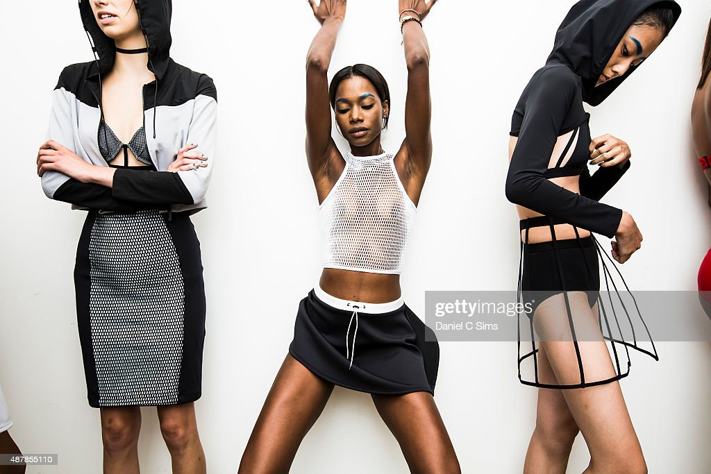 Models prepare backstage during the Chromat featuring Intel Collaboration dress rehearsal at Milk Studios on September 11, 2015 in New York City.