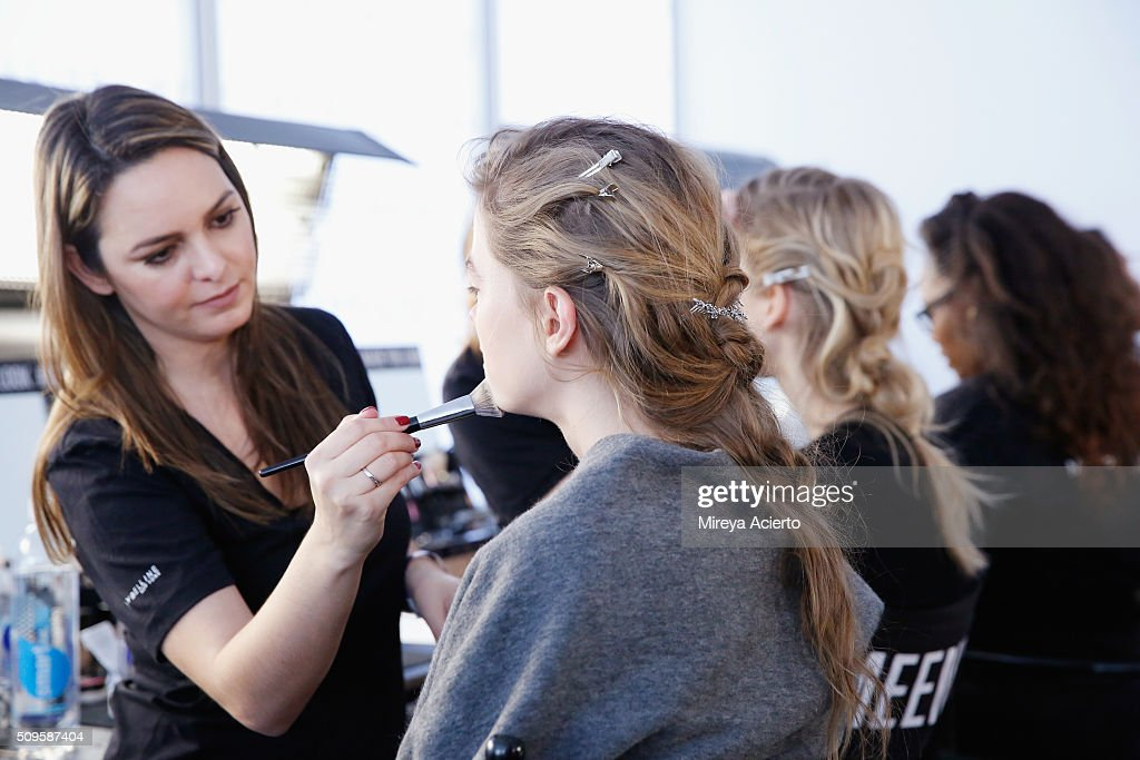 Models prepare backstage for the Brock Collection during Fall 2016 MADE Fashion Week at Milk Studios on February 11, 2016 in New York City.