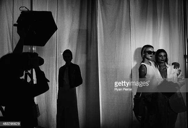 Models prepare backstage for the Ginger Smart show at MercedesBenz Fashion Week Australia 2014 at Level 1 55 Mentmore Ave Rosebery on April 8 2014 in...