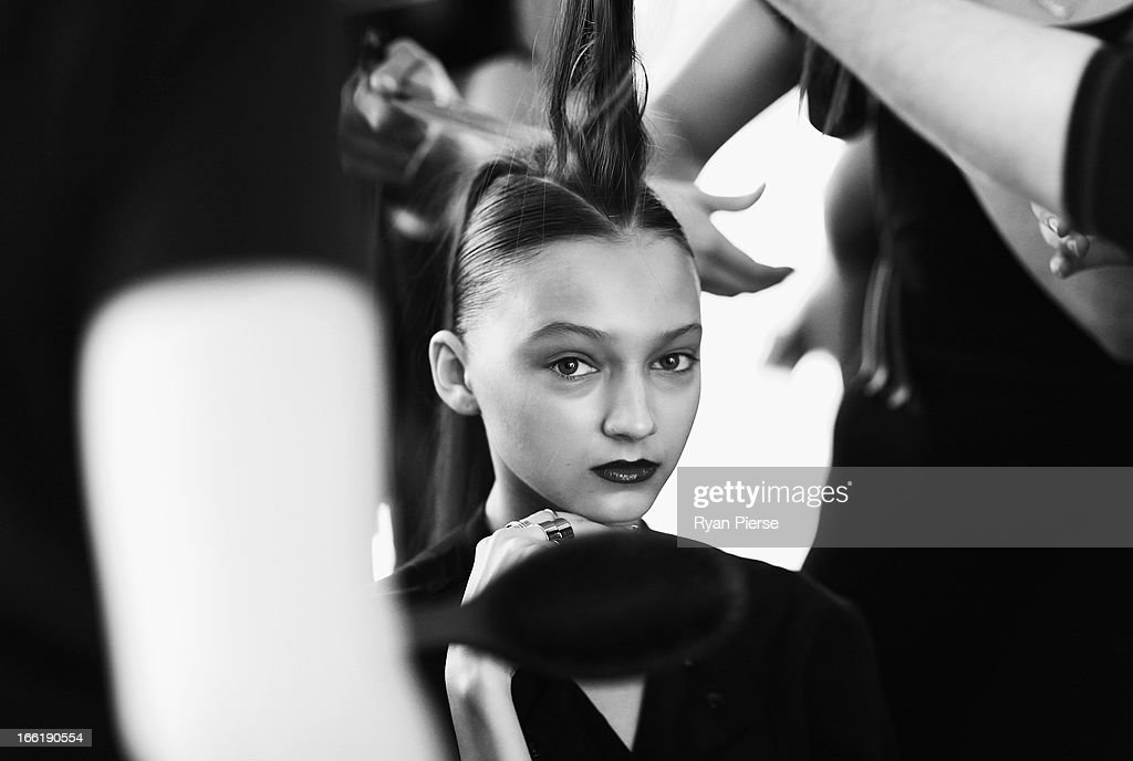 Models prepare backstage for the Lisa Ho show during Mercedes-Benz Fashion Week Australia Spring/Summer 2013/14 at Art Gallery NSW on April 10, 2013 in Sydney, Australia.